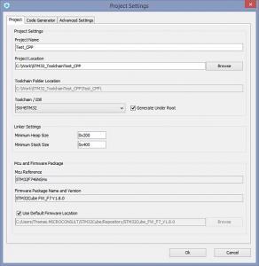 STM32CubeMX Codegenerierung - Projekteinstellungen