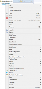 STM32CubeMX Projekt-Kontextmenü im Projekt-Browser