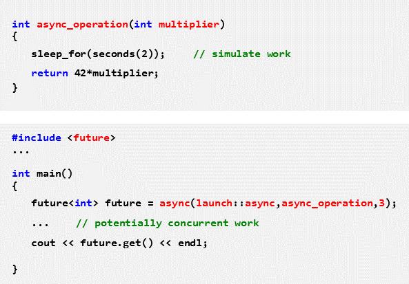 Nebenläufige Ausführung einer Funktion mit async und Übergabe des Ergebnisses mithilfe von future